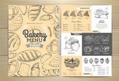 葡萄酒面包店菜单设计 婚姻正餐肉卷熏制的蕃茄 免版税库存照片