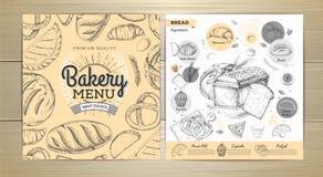 葡萄酒面包店菜单设计 婚姻正餐肉卷熏制的蕃茄 免版税库存图片