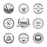葡萄酒面包店证章,标签和商标 库存照片