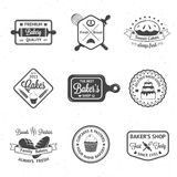 葡萄酒面包店证章,标签和商标 免版税库存图片