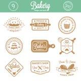 葡萄酒面包店证章,标签和商标 免版税库存照片