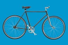 葡萄酒风俗singlespeed在蓝色背景隔绝的自行车 库存照片
