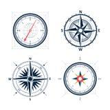 葡萄酒风玫瑰色指南针集合 风ro传染媒介设计  免版税库存图片