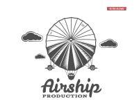 葡萄酒飞艇商标 减速火箭的飞船难看的东西模板 徽章传染媒介设计 老速写的样式 用途, labe 皇族释放例证