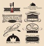 葡萄酒餐馆商标汇集 免版税库存照片