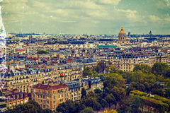 葡萄酒鸟瞰图,从埃佛尔铁塔,与圆顶des Invalides 库存图片