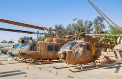 葡萄酒麦克唐纳-道格拉斯公司MD 500防御者在以色列人空军队博物馆显示了 免版税库存图片