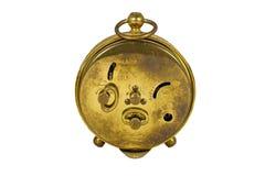 葡萄酒黄铜时钟的后部在白色隔绝的 免版税图库摄影