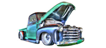 葡萄酒20世纪40年代在白色背景隔绝的雪佛兰卡车 免版税图库摄影