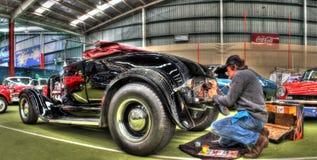 葡萄酒20世纪20年代福特旧车改装的高速马力汽车 免版税库存照片
