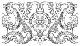 葡萄酒巴洛克式的几何花饰 图库摄影