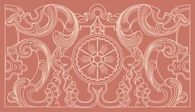 葡萄酒巴洛克式的几何花饰 库存图片