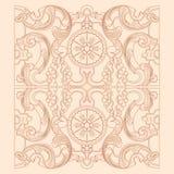 葡萄酒巴洛克式的几何花饰 免版税库存图片