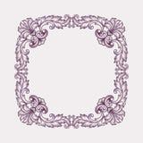 葡萄酒巴洛克式的框架边界纸卷设计传染媒介 库存照片