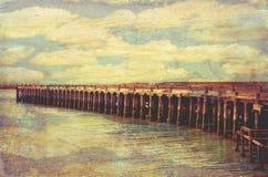葡萄酒织地不很细历史的驮兽码头, Oamaru 库存图片