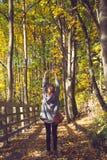 葡萄酒年轻妇女的样式图象在秋天 库存照片