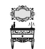 葡萄酒黑家具集合传染媒介 富有被雕刻的装饰品家具收藏 传染媒介维多利亚女王时代样式 免版税库存图片