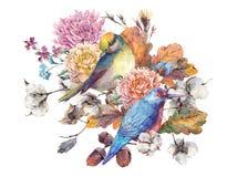 葡萄酒水彩对与秋天花束的鸟 免版税库存照片