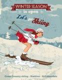 葡萄酒画报女孩滑雪海报 免版税图库摄影