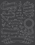葡萄酒黑板手拉的设计元素九 免版税库存图片
