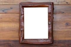 葡萄酒画框,被镀的木头,白色背景,截去的p 免版税库存照片