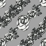 葡萄酒黑白玫瑰样式 库存例证