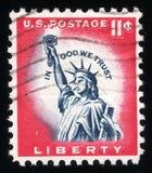 葡萄酒从美国自由的岗位邮票 库存图片