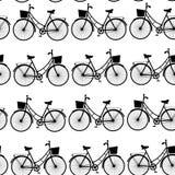 葡萄酒黑自行车,黑白无缝的样式 向量 免版税库存照片