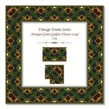 葡萄酒3D框架316古色古香的绿色金黄花叶子 免版税库存照片