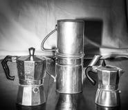 葡萄酒coffe制造商画象和differenttypes  免版税库存图片