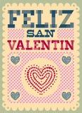 葡萄酒Feliz圣Valentin -愉快的情人节西班牙语发短信 库存照片