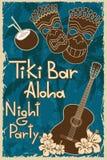 葡萄酒Tiki酒吧海报 库存例证