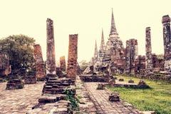 葡萄酒Wat Phra Si Sanphet,泰国 免版税库存图片