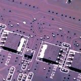 董事会电路被打印的紫色 库存照片