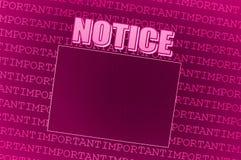 董事会通知单粉红色 免版税库存照片
