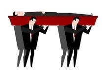 葬礼 人运载有死者的棺材 有corp的红色木棺材 皇族释放例证