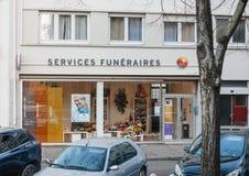 葬礼-服务Funeraires办公室在法国 免版税库存图片