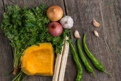 葱、南瓜、大蒜、玉米、胡椒、香菜和荷兰芹在a 图库摄影