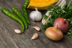 葱、南瓜、大蒜、玉米、胡椒、香菜和荷兰芹在a 免版税图库摄影