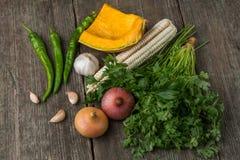 葱、南瓜、大蒜、玉米、胡椒、香菜和荷兰芹在a 免版税库存照片