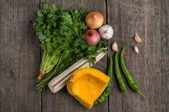 葱、南瓜、大蒜、玉米、胡椒、香菜和荷兰芹在a 免版税库存图片