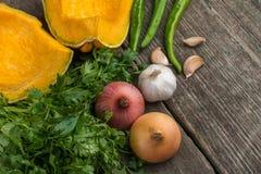 葱、南瓜、大蒜、胡椒、香菜和荷兰芹在老 免版税库存照片