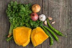 葱、南瓜、大蒜、胡椒、香菜和荷兰芹在老 免版税库存图片