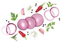 葱、大蒜、在白色背景隔绝的辣椒和香料 顶视图 库存照片