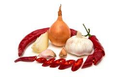 葱、大蒜、荷兰芹和辣椒在白色背景 库存图片