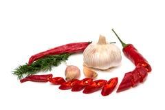 葱、大蒜、荷兰芹和辣椒在白色背景 免版税库存照片