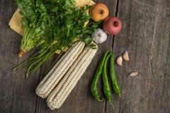 葱、玉米、大蒜、胡椒、香菜和荷兰芹在老求爱 免版税库存图片