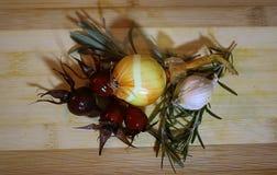 葱和干燥玫瑰色芽用大蒜、迷迭香和淡紫色 免版税库存照片