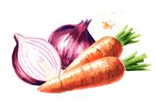 葱和红萝卜构成 水彩手拉的例证,隔绝在白色背景 向量例证