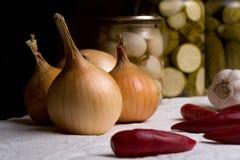 葱在胡椒、大蒜和泡菜中的一块白色布料说谎 库存图片